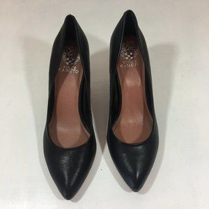 VINCE CAMUTO Goldie Leather Kitten Heel Black 9.5M